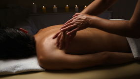 Man relaxing with massage at beauty spa.  stock video footage