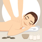 Man Relaxing Massage Spa Stock Images
