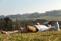 Man relaxing in the nature Stock Images