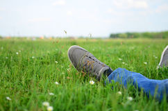 Man relaxing outdoor on the fresh grass Stock Photo