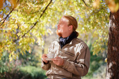 Man relaxing on park Royalty Free Stock Images