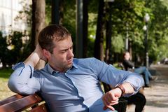 Man relaxing in the public garden Royalty Free Stock Photo