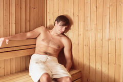 Man relaxing in the sauna Royalty Free Stock Photo