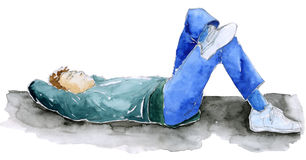 Man relaxing - sketch. Man laying down. Sketch hand made with pen and watercolors royalty free illustration