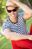 Man Relaxing In Summer Garden Royalty Free Stock Images