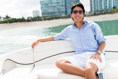 Man relaxing on a yacht Stock Photography