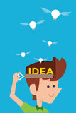 Man releasing idea bulb. Royalty Free Stock Photos