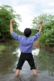 Man releasing stress in nature stock images