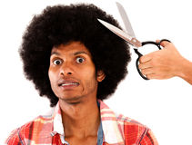 Man reluctant to cut his hair Royalty Free Stock Photos