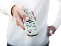 Man with remote control Royalty Free Stock Image