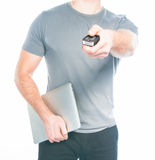 Man with a remote control from the car in the hands Stock Photos