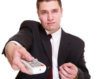 Man with remote control changing channel Stock Photography