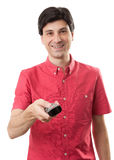 Man with remote control Royalty Free Stock Photo