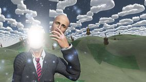 Man removes face showing light in landscape with cellos Royalty Free Illustration