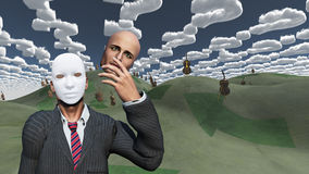 Man removes face to reveal mask underneath. In surreal landscape Stock Image