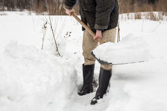 Man removes shoveling snow from the track Stock Photography