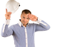 Man Removing Hard Hat to Wipe Forehead with Hand Stock Photos