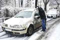 Man removing snow Stock Photos