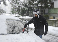 Man removing snow Stock Photos
