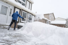 Man Removing Snow with a Shovel Royalty Free Stock Photography