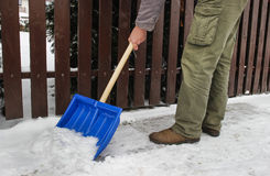Man removing snow from the sidewalk Stock Images