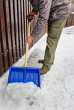 Man removing snow from the sidewalk Stock Photos