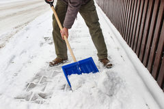 Man removing snow from the sidewalk Royalty Free Stock Photos