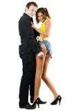 Man rending shorts of woman stock photo