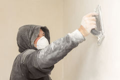 Man renovating his house alone Royalty Free Stock Images