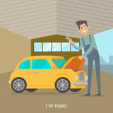 Man repair car. Car service illustration in flat style Royalty Free Stock Photography