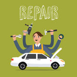 Man repair car holding tools key hammer gear drill sedan Stock Photography