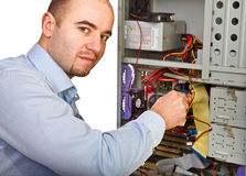 Man repair computer Stock Photo
