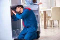 The man repairing fridge with customer. Man repairing fridge with customer Stock Image