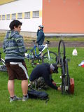 Man repairing his bike, Lublin, Poland Stock Image