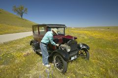 A man repairing his maroon Model T, surrounded by spring flowers off of Route 58, Shell Road, CA Royalty Free Stock Image
