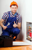 Man repairing valves Stock Photo
