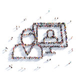 Man report message people 3d. Large and creative group of people gathered together in the shape of a man, monitor, report. 3D illustration, isolated against a Royalty Free Stock Photography