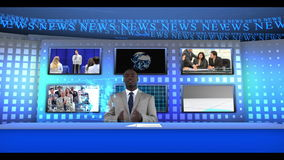 Man reporting business news stock video footage