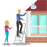 Man Rescuing Cat on Roof Flat Vector Illustration stock illustration