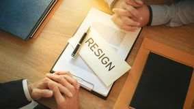 Man with resignation letter for quit a job to human resource manager royalty free stock photos