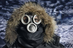 Man in respirator. Portrait of man in respirator Stock Image