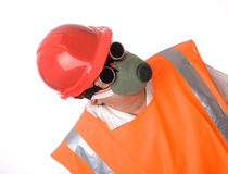 Man in respirator Stock Image