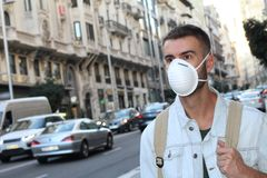 Man with respiratory system problems in polluted environment.  Stock Images