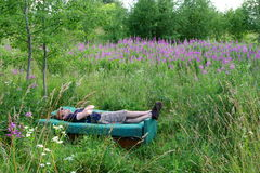 Man rest free in summer field on sofa in shorts Stock Photography
