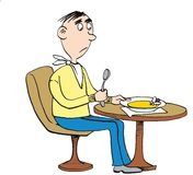 Man at restaurant anf fly in soup. Cartoon royalty free illustration