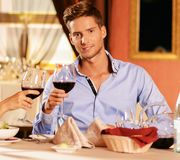 Man in a restaurant Stock Images
