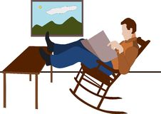 Man restful. Vector - man restful in rocking-chair and seeing Stock Photography