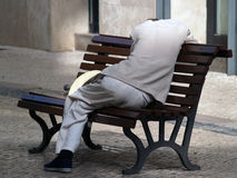 Man resting. On a bench Stock Photography