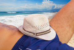 Man resting on the beach Royalty Free Stock Photo