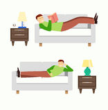Man is resting in the bedroom on the couch or sofa. Lounge room. Man reading book illustration. Bedroom  illustration Stock Photo